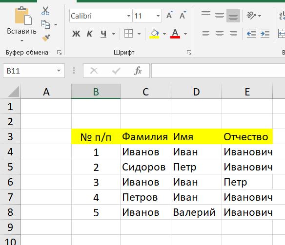 Пример таблица Excel