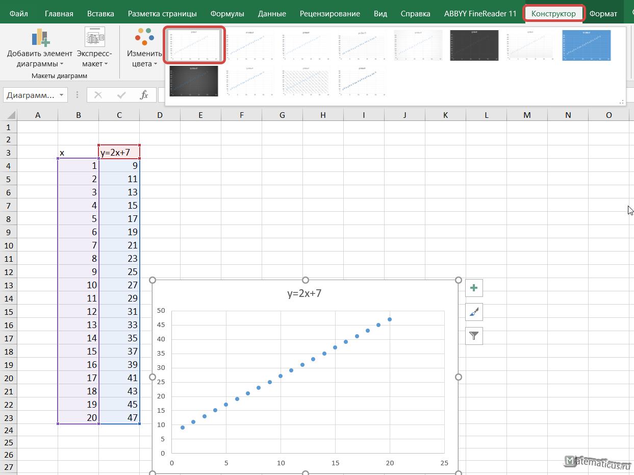 конструктор точечный график Excel 2016