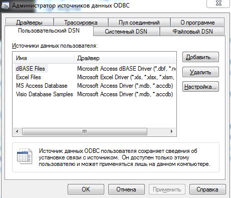 Администратор источников данных ODBC