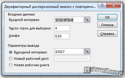 Двухфакторный дисперсионный анализ с повторениями в Excel