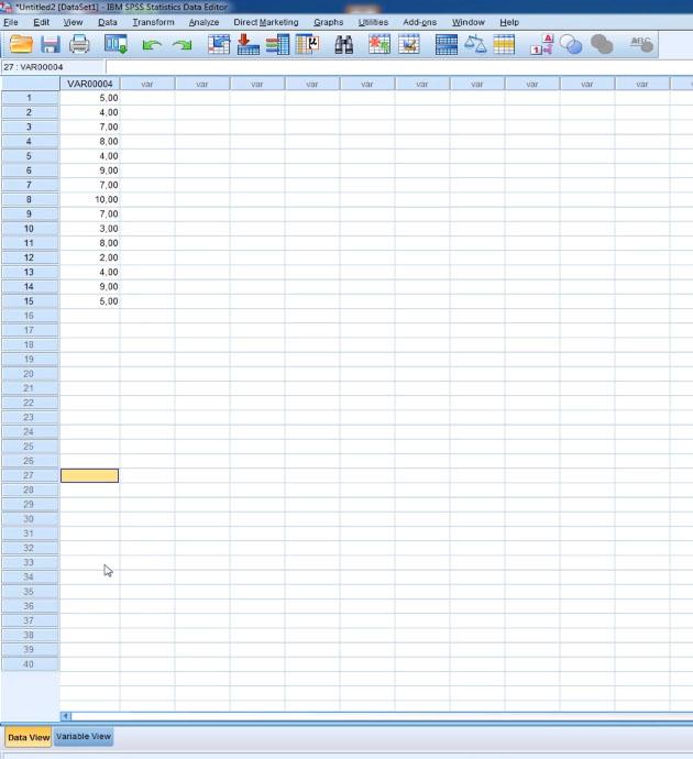 Вводим данные в SPSS Statistic